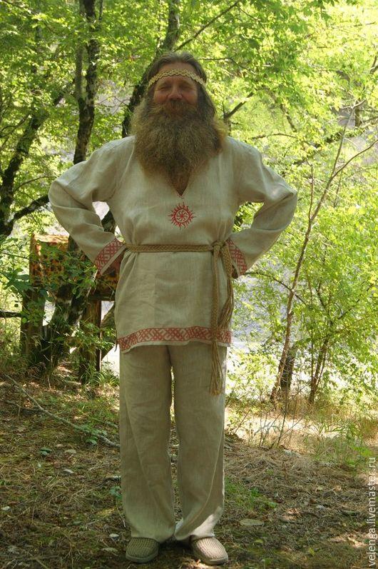 Одежда ручной работы. Ярмарка Мастеров - ручная работа. Купить Комплект рубаха Коловрат и порты. Handmade. Серый, обрядовая рубаха