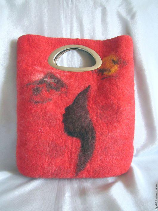 Валяная женская сумка - пакет, на подкладке