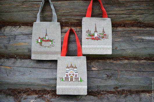 """Сумки и аксессуары ручной работы. Ярмарка Мастеров - ручная работа. Купить Подарочные эко-сумочки из плотного льна """"Города"""" (на выбор). Handmade."""