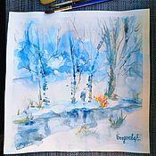 Картины ручной работы. Ярмарка Мастеров - ручная работа Зимний пейзаж акварелью. Handmade.