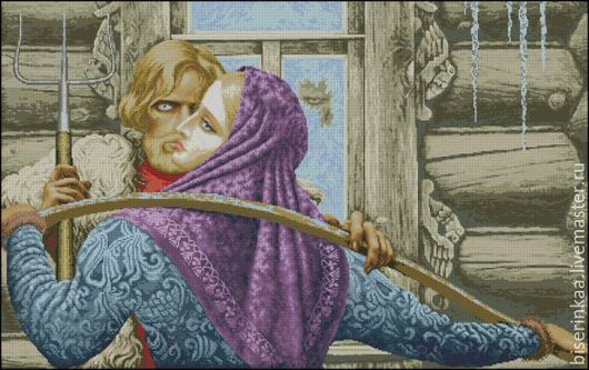 Схема вышивки бисером по картине К.Васильева `У чужого окна`