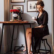 Одежда ручной работы. Ярмарка Мастеров - ручная работа Халатик в пол из черного шифона. Handmade.