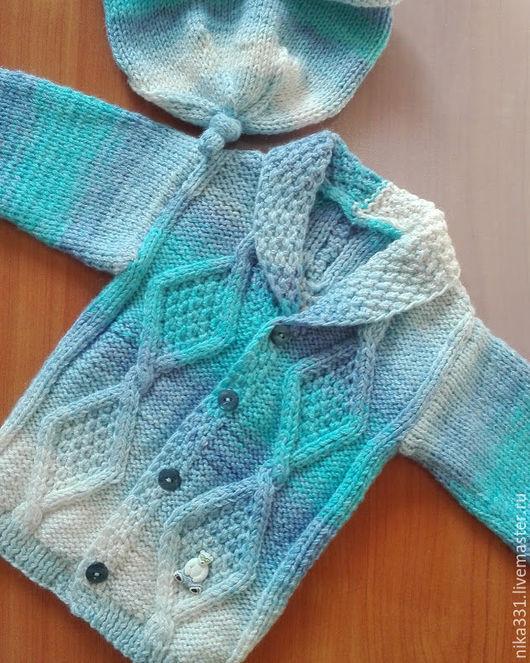 Одежда для мальчиков, ручной работы. Ярмарка Мастеров - ручная работа. Купить Комплект: кофта +шапочка. Handmade. Комбинированный, шапочка для малыша