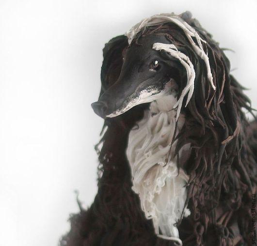 """Игрушки животные, ручной работы. Ярмарка Мастеров - ручная работа. Купить фигурка """"Афганская борзая"""" (статуэтка собаки, черно-белое). Handmade."""