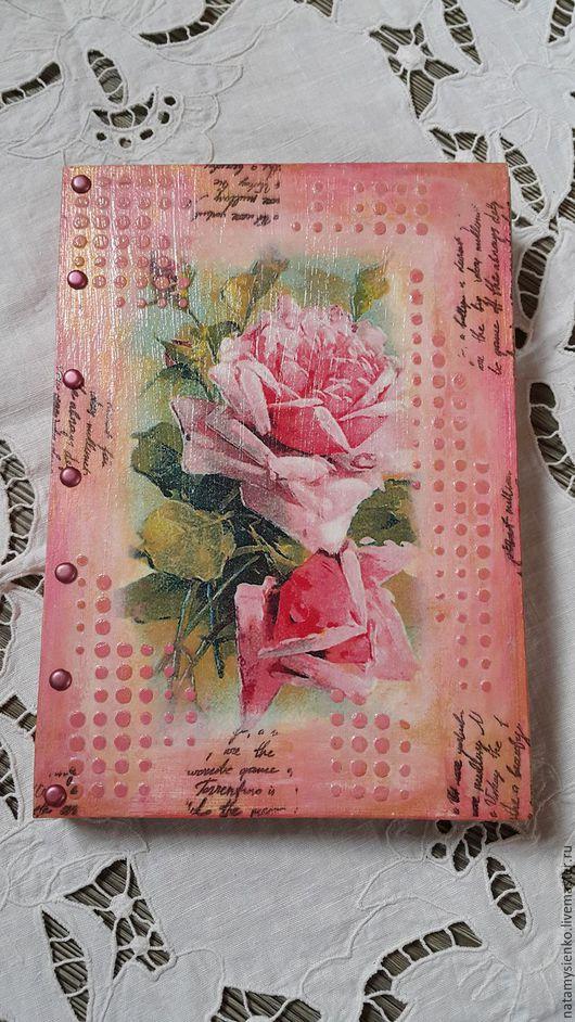 """Блокноты ручной работы. Ярмарка Мастеров - ручная работа. Купить Блокнот """"Розы"""". Handmade. Комбинированный, блокнот для девушки, штампы"""