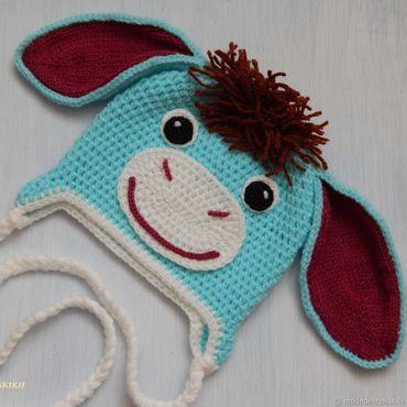 """Работы для детей, ручной работы. Ярмарка Мастеров - ручная работа """" Ослик """" вязаная шапочка. Handmade."""