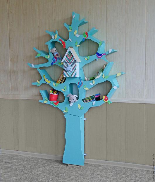 Детская ручной работы. Ярмарка Мастеров - ручная работа. Купить Дерево-стеллаж мятного цвета. Handmade. Мятный, оригинальный стеллаж