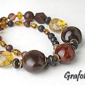 Украшения handmade. Livemaster - original item Beads from natural stones and Kukui nuts. Handmade.