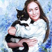 Иллюстрации, рисунки ручной работы. Ярмарка Мастеров - ручная работа Портрет с животным. Handmade.