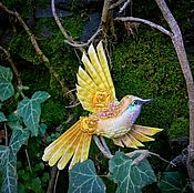 """Украшения ручной работы. Ярмарка Мастеров - ручная работа Брошь """"жёлтая пташка"""". Handmade."""