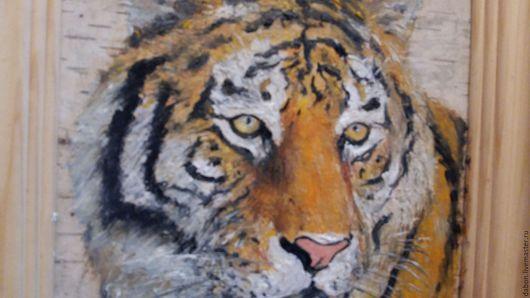 Животные ручной работы. Ярмарка Мастеров - ручная работа. Купить Картина на бересте Тигр. Handmade. Рыжий, картина на дереве