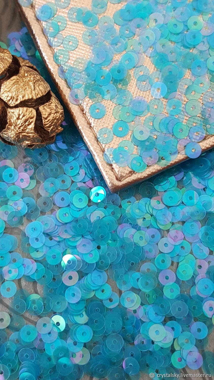 """Плоские пайетки """"Andrea Bilics"""" Италия 4мм Ярко-голубой, Пайетки, Иерусалим,  Фото №1"""