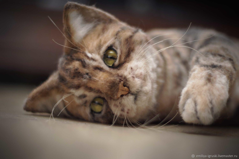 Бенгальская кошка с котенком. Реалистичные игрушки ...