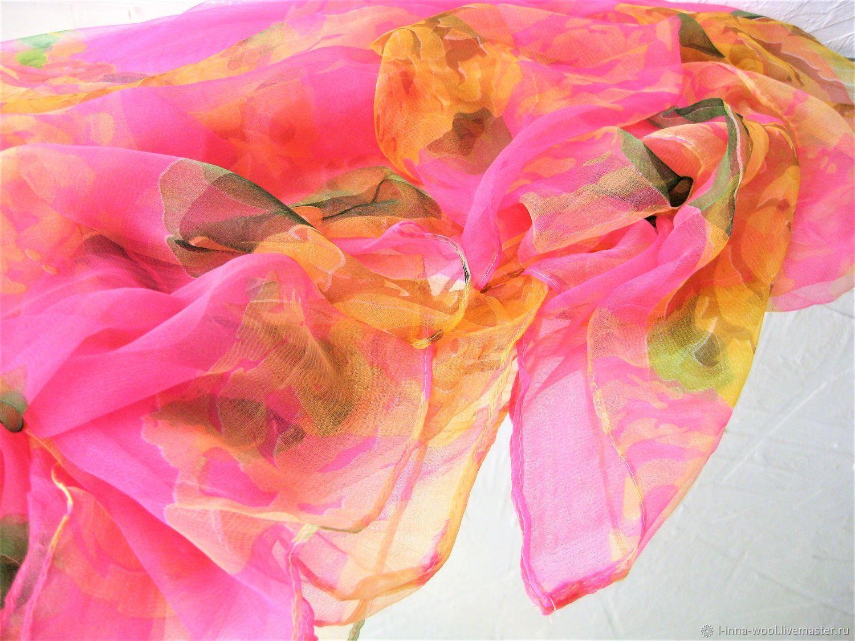 Ярко-розовый Платок шелк шифон натуральный 100 см на 100см, Валяние, Новосибирск, Фото №1