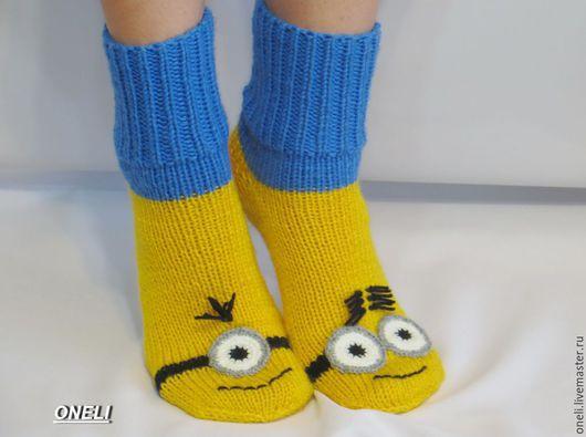 """Носки, Чулки ручной работы. Ярмарка Мастеров - ручная работа. Купить Носки """"Миньоны"""" 2. Handmade. Желтый, носки женские"""