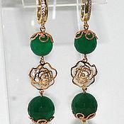 Украшения handmade. Livemaster - original item Earrings with chrysoprase. Handmade.