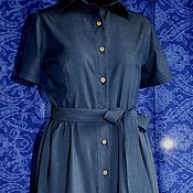 Одежда handmade. Livemaster - original item Denim dress INDIGO exact repetition is impossible. Handmade.
