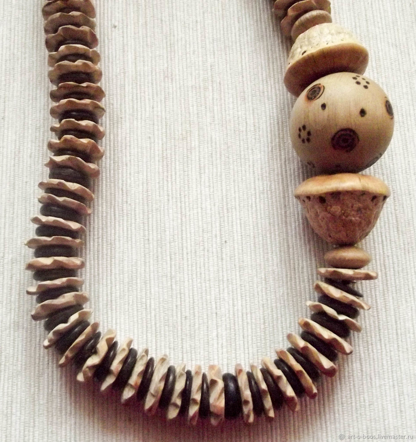 """Necklace """"Striped"""" of coconut and wood, Necklace, Moscow,  Фото №1"""