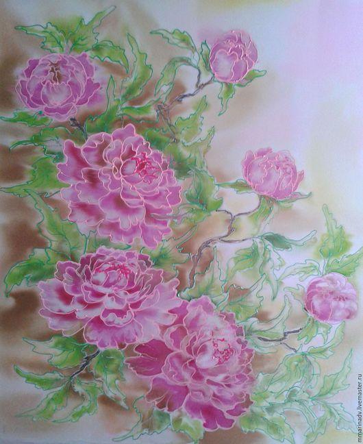 Батик картина `Пионовый сад`, шелк 100%. Авторский батик Марины Маховской.