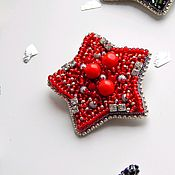 Украшения handmade. Livemaster - original item Brooch for a girl Star red with beaded embroidery. Handmade.