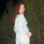 Одежда handmade. Livemaster - original item Denim summer suit (boyfriend shirt oversized). Handmade.