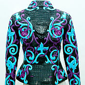 Одежда handmade. Livemaster - original item Exclusive women`s jacket made of crocodile and Python leather with embroidery.. Handmade.