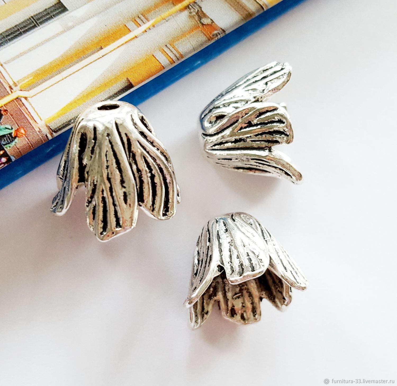 Для украшений ручной работы. Ярмарка Мастеров - ручная работа. Купить Концевик тюльпан 18 х 18 мм античное серебро Фурнитура для украшений. Handmade.