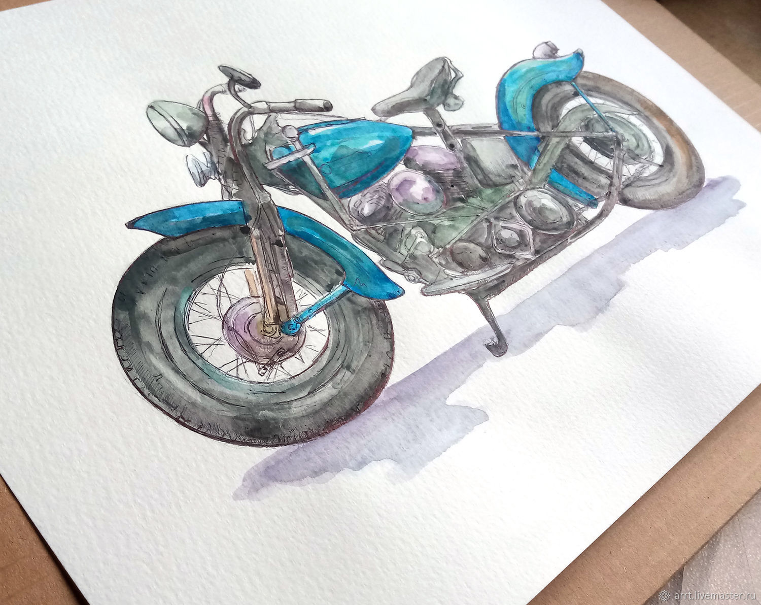 Motorcycle Watercolor - Harley Davidson bike, Fun, St. Petersburg,  Фото №1