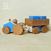 Техника, роботы, транспорт ручной работы. Ярмарка Мастеров - ручная работа Деревянная игрушка Трактор с прицепом. Handmade.