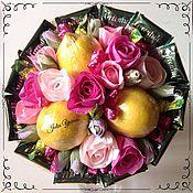 """Цветы и флористика ручной работы. Ярмарка Мастеров - ручная работа Фруктово-чайный букет """"Розовый лимон"""". Handmade."""