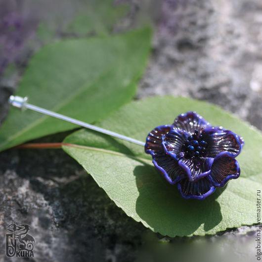 Броши ручной работы. Ярмарка Мастеров - ручная работа. Купить Брошь шпилька Пурпурный цветок. Стекло, лэмпворк. Фиолетовый сиреневый. Handmade.