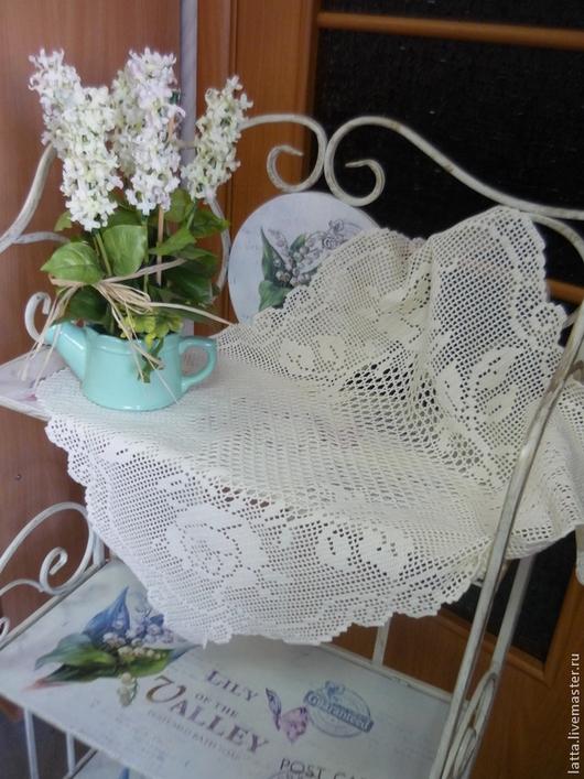 """Текстиль, ковры ручной работы. Ярмарка Мастеров - ручная работа. Купить Мини-скатерть салфетка вязаная """"Английские розы"""" филейное вязание. Handmade."""