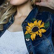 Украшения handmade. Livemaster - original item Brooch-clip leather Sunflower. Decoration leather.. Handmade.