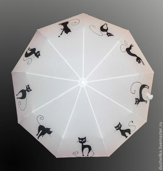 """Зонты ручной работы. Ярмарка Мастеров - ручная работа. Купить Зонт с ручной росписью """"Коты"""". Handmade. Белый зонт, Кошки"""