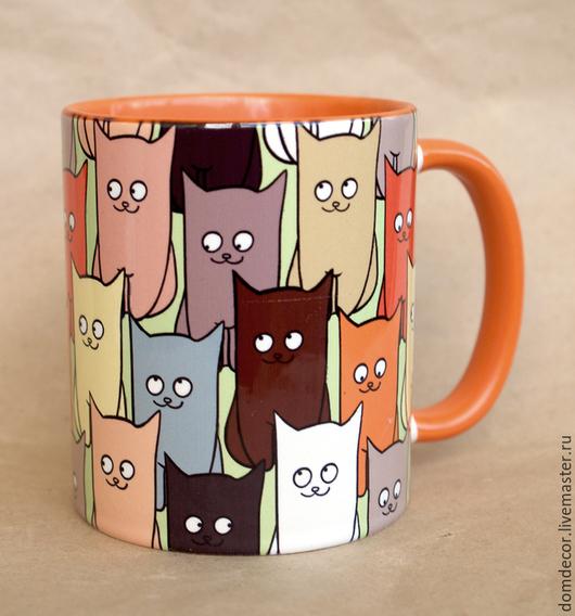 """Кружки и чашки ручной работы. Ярмарка Мастеров - ручная работа. Купить Чашка """"Кошки-кошки"""". Handmade. Рыжий, Кошки"""