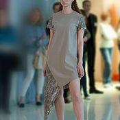 Одежда handmade. Livemaster - original item Beige dress short sleeve, soft tunic dress. Handmade.