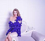 Одежда ручной работы. Ярмарка Мастеров - ручная работа Кардиган с объемными шариками фиолетовый. Handmade.