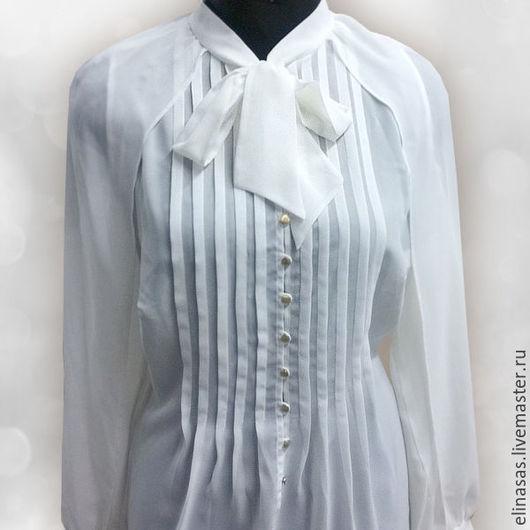 Блузки ручной работы. Ярмарка Мастеров - ручная работа. Купить Блуза шифоновая шампань. Handmade. Белый
