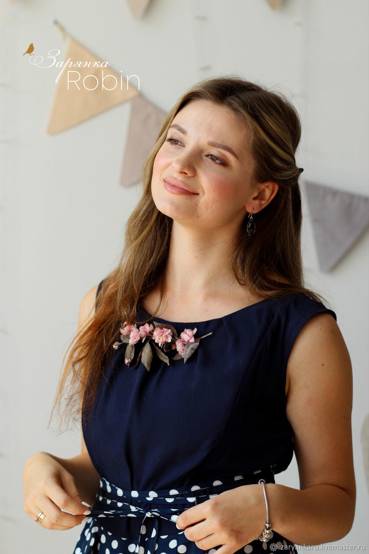 Платье миди Комильфо синее в горошек, Платья, Орел,  Фото №1