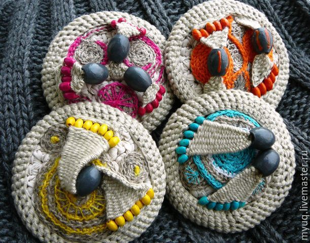 Crochet Brooch Etno With Wooden Beads Shop Online On Livemaster