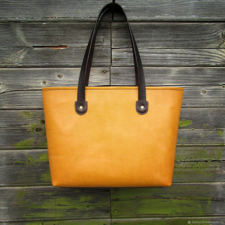Leather bag (shopper) mod.tote 5 color melon, Tote Bag, Sevsk,  Фото №1