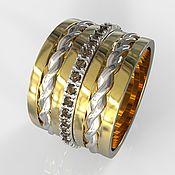 """Украшения ручной работы. Ярмарка Мастеров - ручная работа Золотое кольцо """"Gravity"""" из золота с дымчатыми бриллиантами. Handmade."""