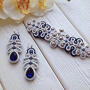 Украшения handmade. Livemaster - original item Soutache earrings and brooch on the dress. Handmade.