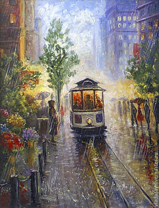 Картина `Трамвай под дождем` 40*50 см. Доставка по всему миру авиа почтой бесплатно.  Картина - красивый подарок на день рождения, свадьбу, юбилей, Рождество, Новый Год. Подарок для девушки, женщины.