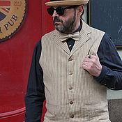 Одежда ручной работы. Ярмарка Мастеров - ручная работа Striptation 02 мужской льняной жилет с лацканами. Handmade.