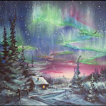 Картины и панно ручной работы. Ярмарка Мастеров - ручная работа Северное сияние. Handmade.