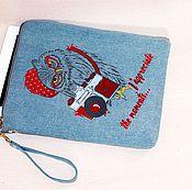 Сумка-планшет ручной работы. Ярмарка Мастеров - ручная работа Чехол для планшета джинсовый ``Сова-фотограф``. Handmade.