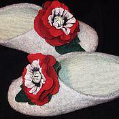 Обувь ручной работы. Ярмарка Мастеров - ручная работа валяные тапочки ,,Маки``. Handmade.