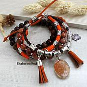 Украшения handmade. Livemaster - original item Red bracelet in boho-chic style with stones