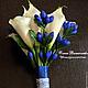 Свадебные цветы ручной работы. Ярмарка Мастеров - ручная работа. Купить Свадебный букет с каллами и гентианой. Handmade. Синий